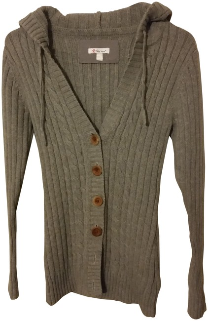Cable Wire Hooted Button From Local Designer Gray Sweater Cable Wire Hooted Button From Local Designer Gray Sweater Image 1