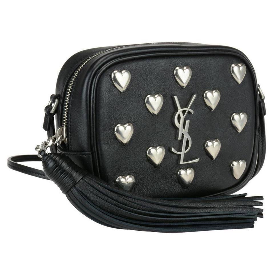 a439296755ff Saint Laurent Monogram Heart Stud Blogger 425317 Black Leather Cross ...