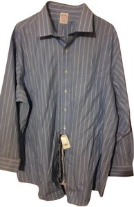 Brooks Brothers #non Irion #dress Shirt Button Down Shirt baby blue with white strips