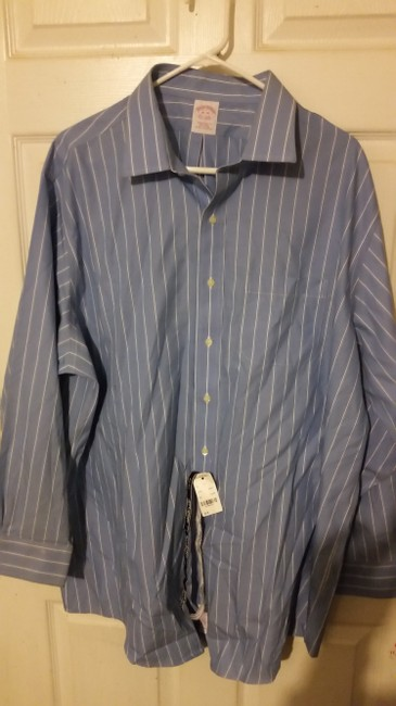 Brooks Brothers #non Irion #dress Shirt Button Down Shirt baby blue with white strips Image 2