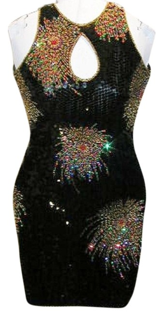 Just Female Dance Party Stretchy Sequin Beaded Dress Image 2