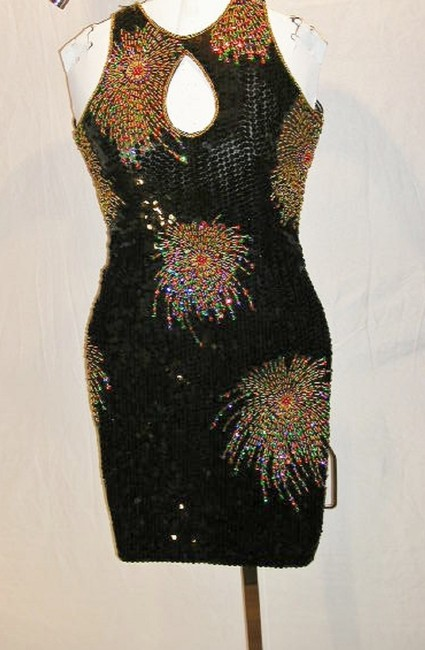 Just Female Dance Party Stretchy Sequin Beaded Dress Image 4