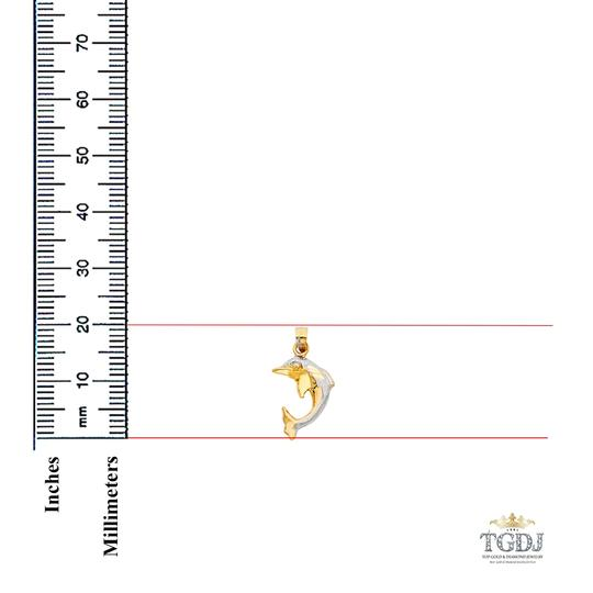 Top Gold & Diamond Jewelry Yellow White Gold 14K Dolphin Pendant Image 1