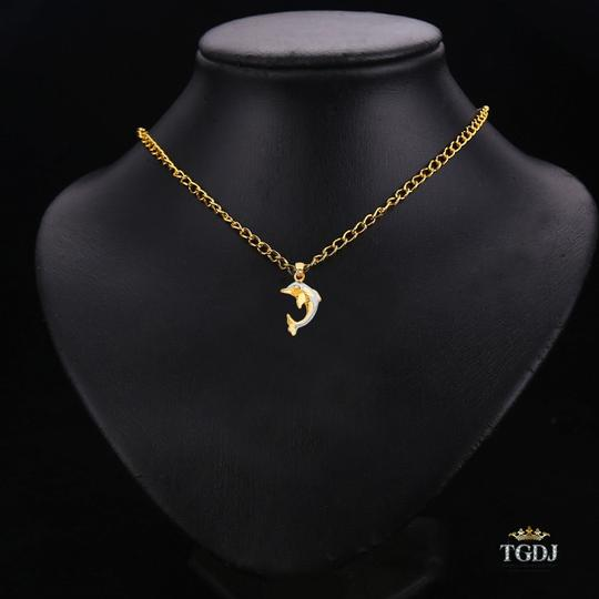 Top Gold & Diamond Jewelry Yellow White Gold 14K Dolphin Pendant Image 2