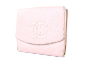 Chanel Cc Wallet Compact Caviar Wallet Bifold Purse Pink Clutch