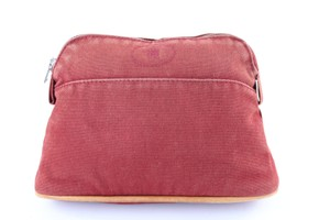 Hermès Make Up Trousse Cosmetic Pouch Poche Red Clutch