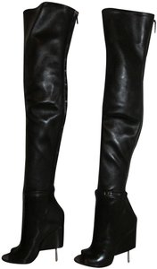Givenchy Black Over The Knee Peep Toe Boots