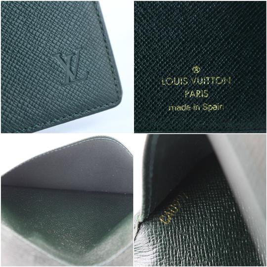 Louis Vuitton Long James Taiga Flap Cheques Green Clutch Image 2