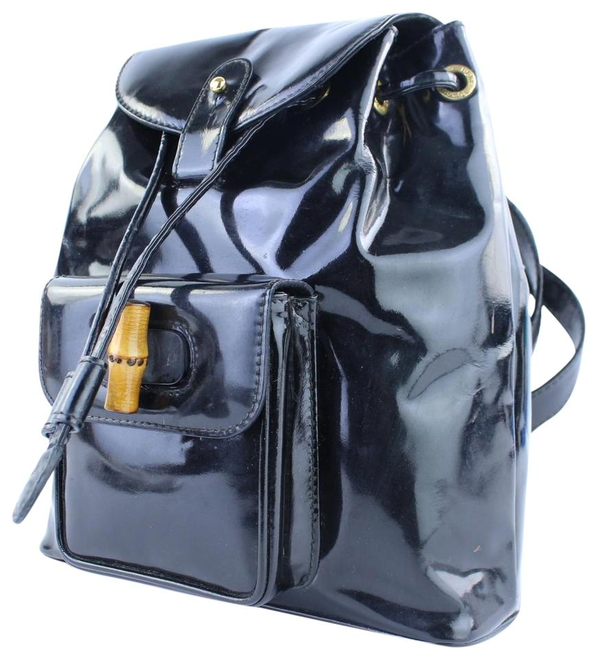51864763b26b Gucci [vestiaire] Bamboo 223773 Black Patent Leather Backpack - Tradesy