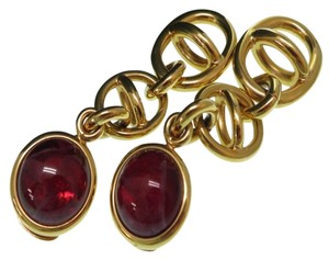 Gucci Authentic Gucci Red Cabochon G Logo Dangle Vintage Earrings Ultra Rare