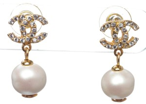 Chanel Chanel Gold Crystal CC Pearl Drop Earrings