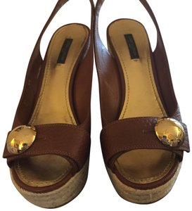 Louis Vuitton Cognac brown Wedges