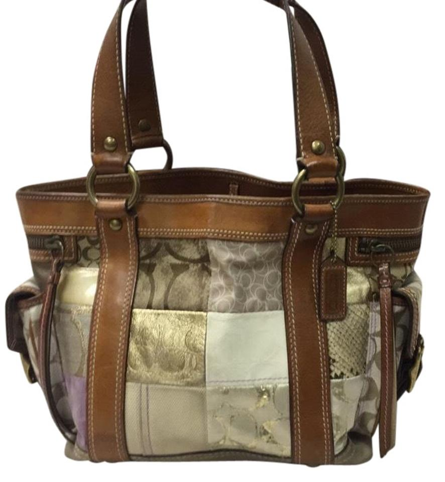 ad251bfe781f Coach Signature Multicolor Leather and Canvas Satchel