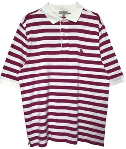 Burberry Logo London T-shirt T Shirt white purple pink strip