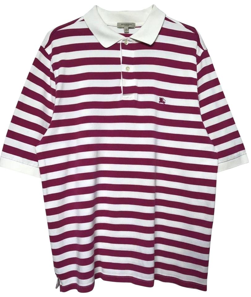 842872649 Burberry White Purple Pink Strip Men's London Polo Large Casual Knight Logo Tee  Shirt