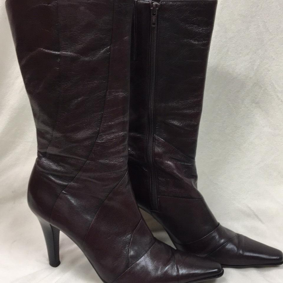 a664fd7521f8 Gianni Bini Dark Red Leather Boots Booties Size US 8.5 Regular (M