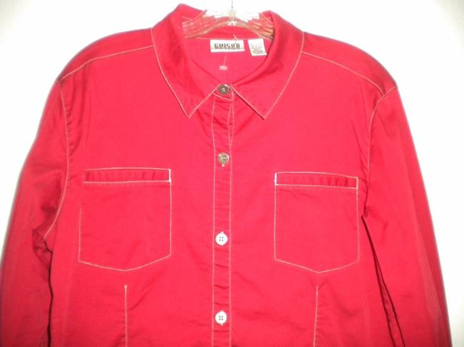 Chico's Button Longsleeve Button Down Shirt Red Image 1