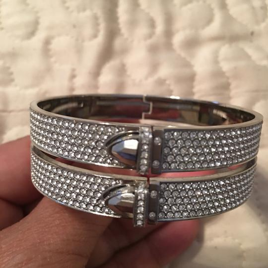 Michael Kors Silver pave crystal double strand bangle bracelet Image 3