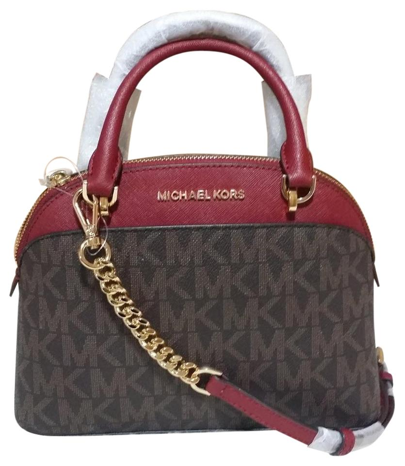 d84b382dc527 Michael Kors Emmy Small Dome Purse Brown/Cherry Leather Satchel ...