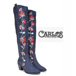 Carlos by Carlos Santana Navy & Red Embroidered OTK Boots Boots