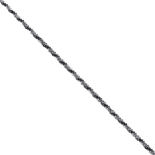 NY Collection 925 Sterling Silver Black White Braided Rope Thin Chain Womens Image 3