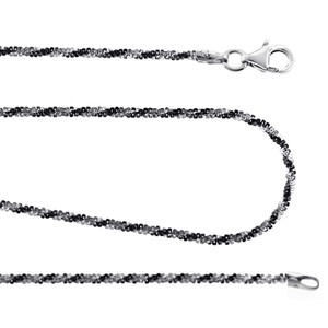 NY Collection Affordable Braided Rope Womens Chain Black White 925 Sterling Silver