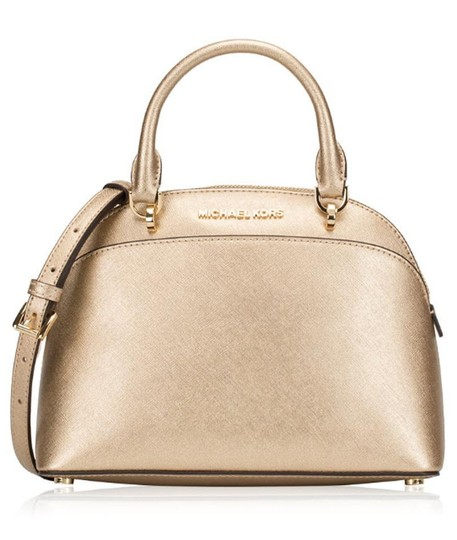 Preload https://img-static.tradesy.com/item/22760333/michael-kors-emmy-small-dome-purse-gold-leather-satchel-0-2-540-540.jpg