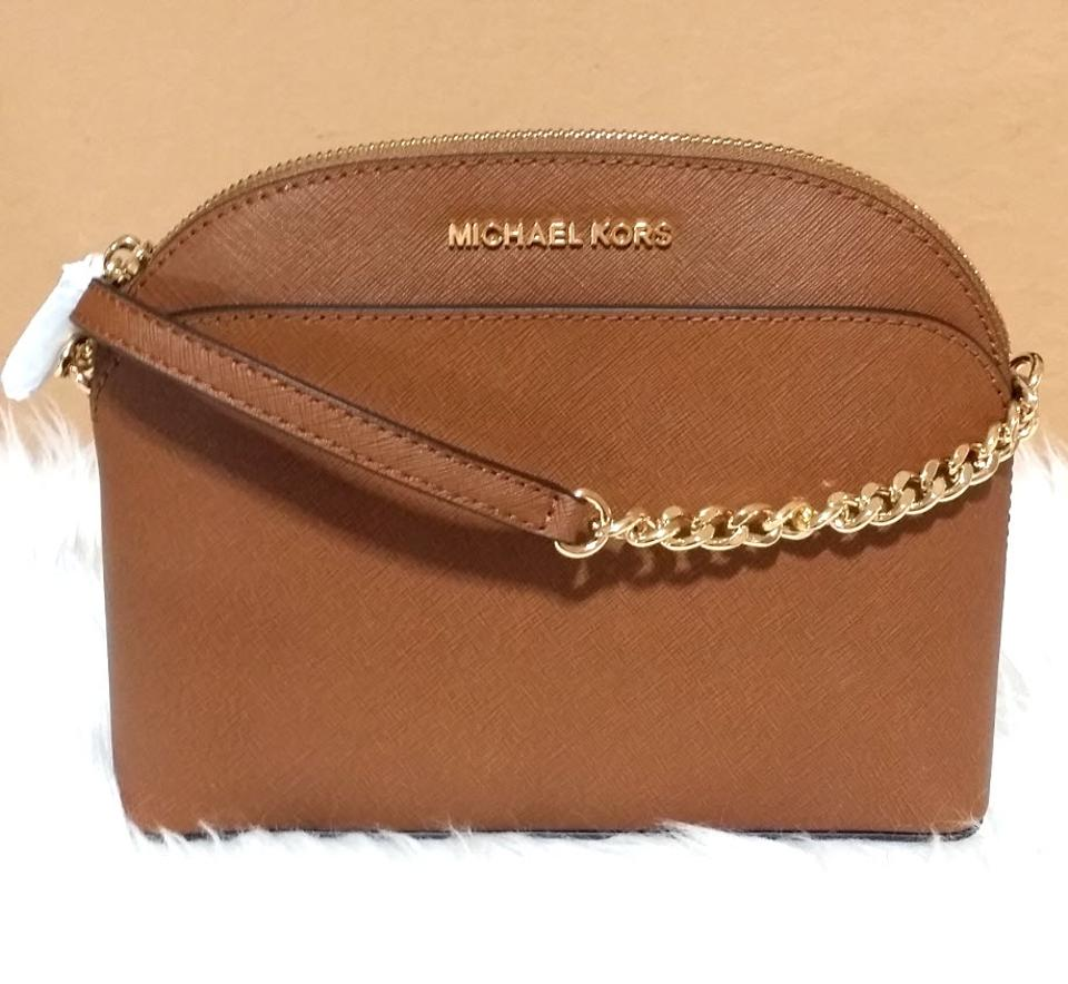 0575dc5b3f0d Michael Kors Emmy Med Luggage Canvas Leather Cross Body Bag