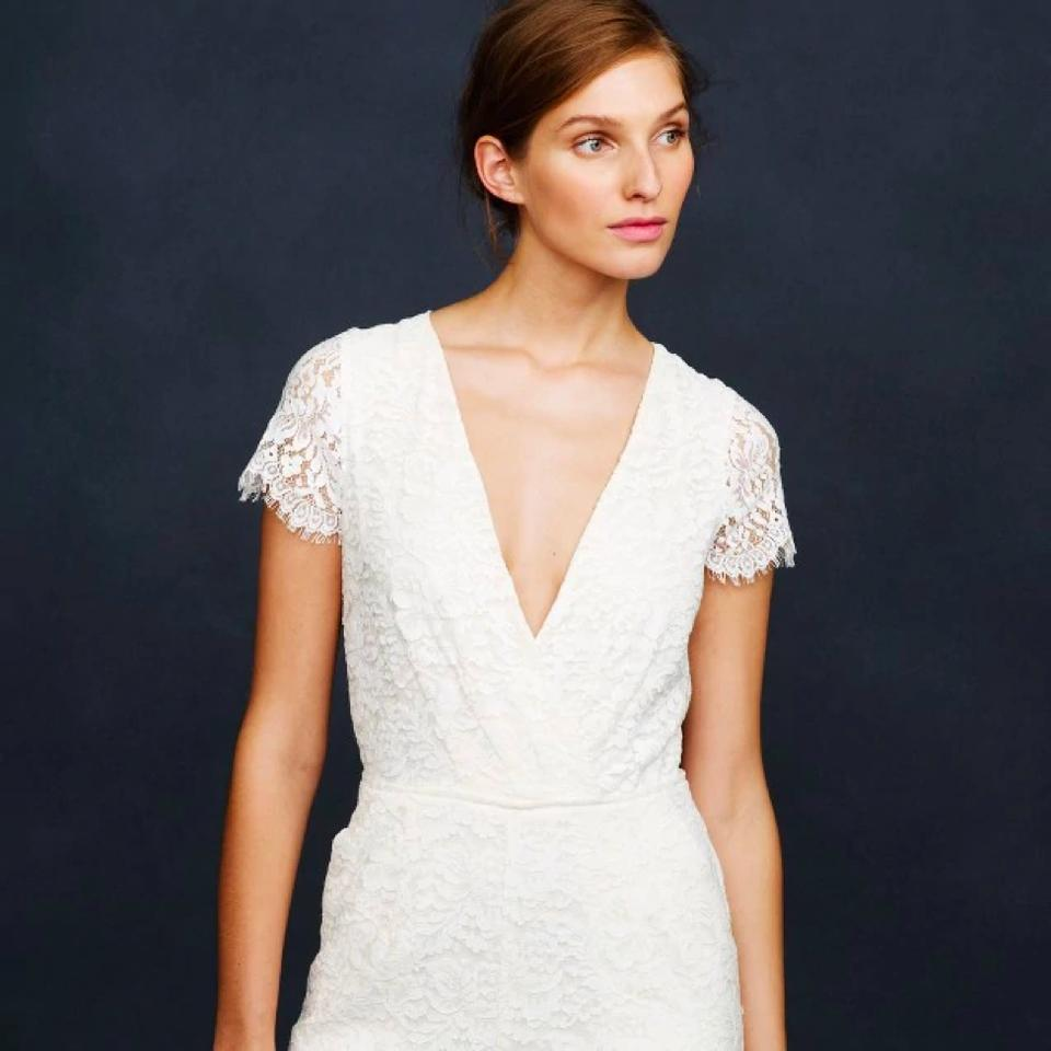 J Crew Ivory Lace Eyelash Jumpsuit Item 09683 Modern Wedding Dress