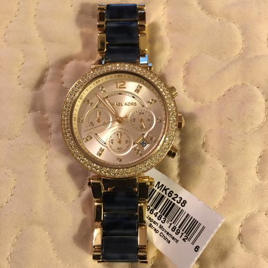 Michael Kors NWT Michael Kors Chrono Parker Gold-Tone /Navy Watch MK6238 Image 3