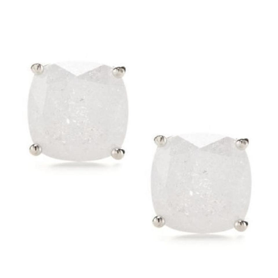 f9d64150e Kate Spade KATE SPADE Silver Plated White Sparkle Square Stud Earrings  w/Dust Bag Image ...