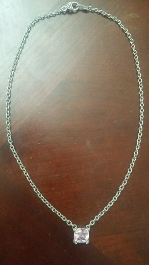 Judith Ripka New Gorgeous Pink Solitaire Silver Link Necklace Image 4