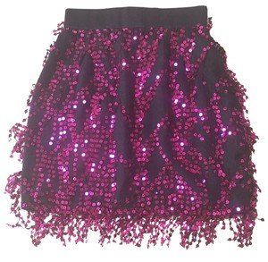 Michael Casey Mini Skirt Black and Fuschia