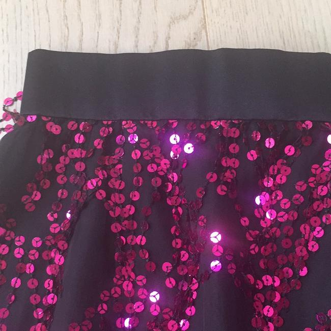 Michael Casey Mini Skirt Black and Fuschia Image 2