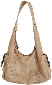 Kathy Van Zeeland Suede Studded Faux Leather Trim Hobo Bag