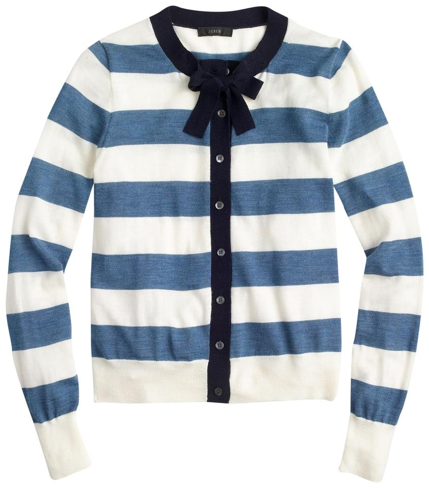 J.Crew Ivory Lagoon Navy Jackie Tie-neck Sweater In Stripes Cardigan ... 095f6a162