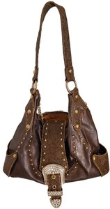 Kathy Van Zeeland Gold Studded Finish Rhinestones Hobo Bag
