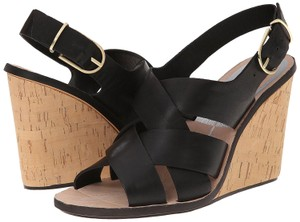 Dolce Vita Leather Crisscross Strap Black Wedges