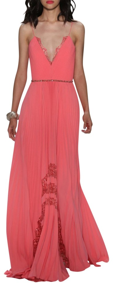 a97ff85758c8 Badgley Mischka Runway Pleated Lace Inset Gown Long Formal Dress ...