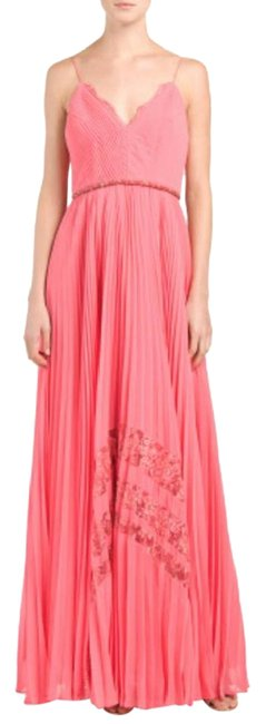 Badgley Mischka Pleated Lace Gown Evening Dress Image 1