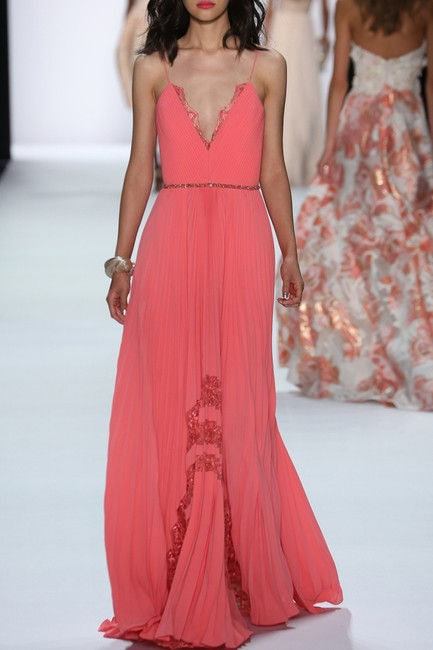 Badgley Mischka Pleated Lace Gown Evening Dress Image 11