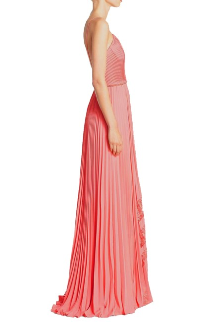 Badgley Mischka Pleated Lace Gown Evening Dress Image 2
