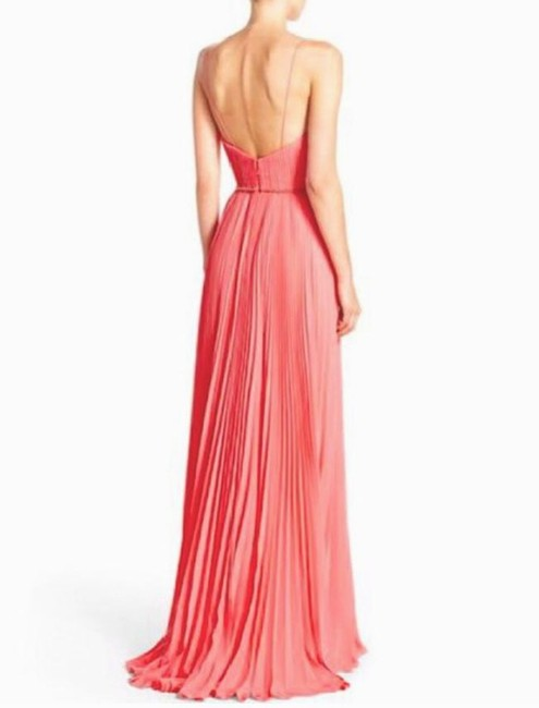 Badgley Mischka Pleated Lace Gown Evening Dress Image 3