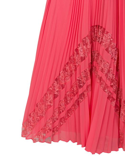 Badgley Mischka Pleated Lace Gown Evening Dress Image 7