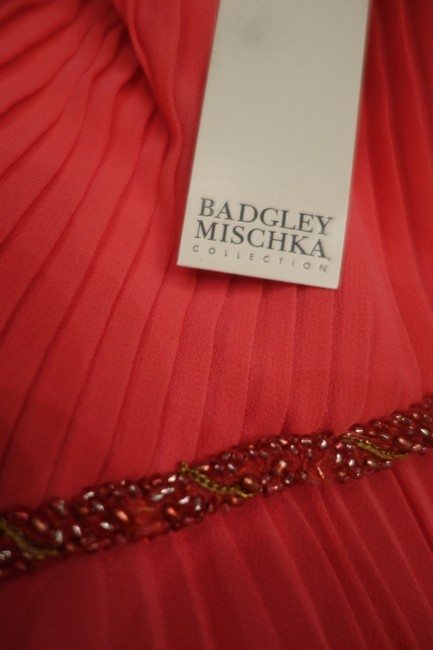 Badgley Mischka Pleated Lace Gown Evening Dress Image 9