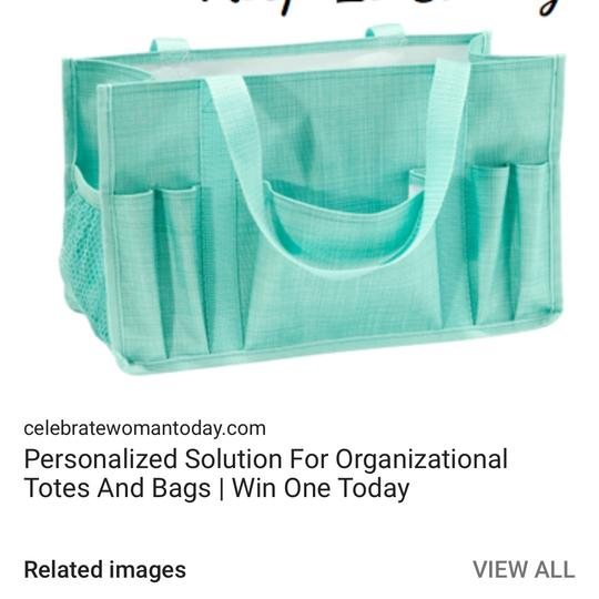 Thirty One Tote in turquoise cross pop Image 1