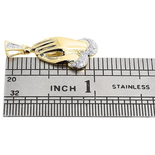 Jewelry For Less Mens Diamond Praying Hands Pendant .925 Sterling Silver Charm 0.15 Ct. Image 4