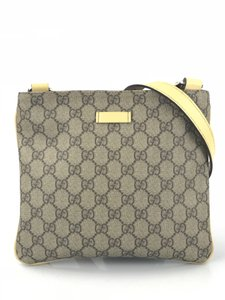 Gucci Monogram Coated Canvas Beige and Brown GG Messenger Bag
