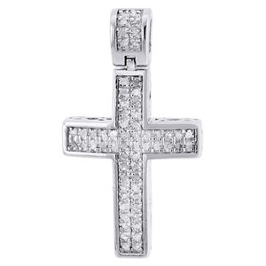 Jewelry For Less Diamond Cross Pendant Mini Jesus 925 Sterling Silver Pave Charm .33 CT