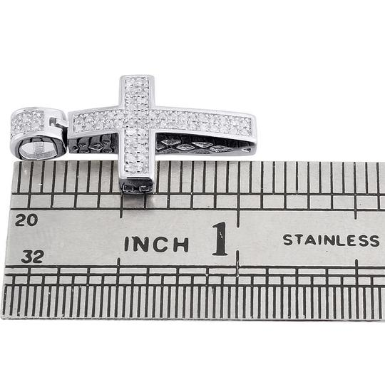 Jewelry For Less Diamond Cross Pendant Mini Jesus 925 Sterling Silver Pave Charm .33 CT Image 3